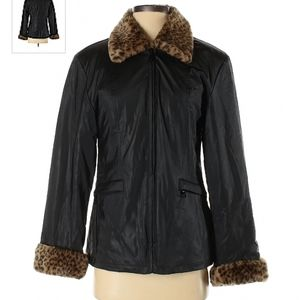 Giacca By Gallery black and cheetah print jacket